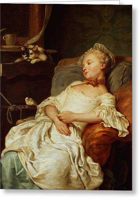 The Sleeper Greeting Card by Jean Francois Colson