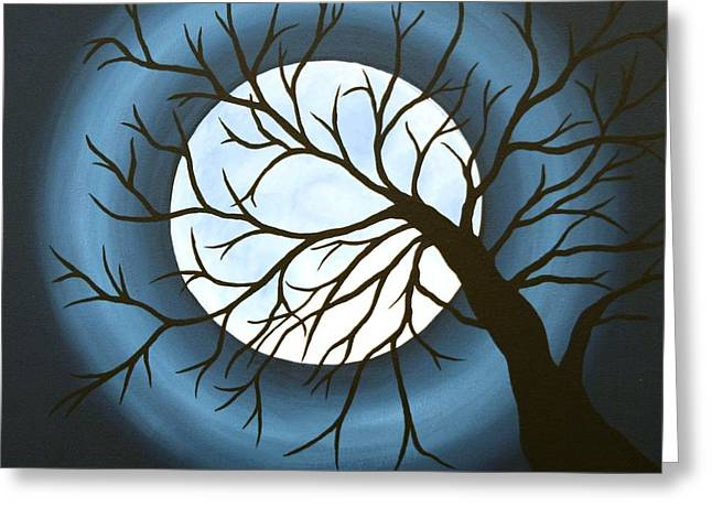 Man In The Moon Greeting Cards - The Sleeping Greeting Card by Angela Hansen