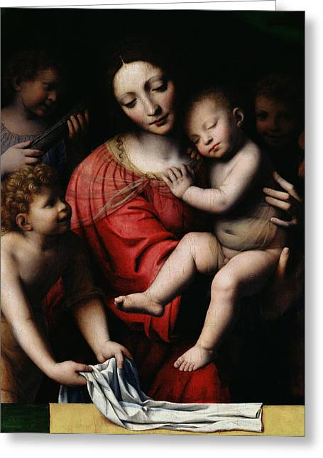 Testament Greeting Cards - The Sleeping Christ Greeting Card by Bernardino Luini