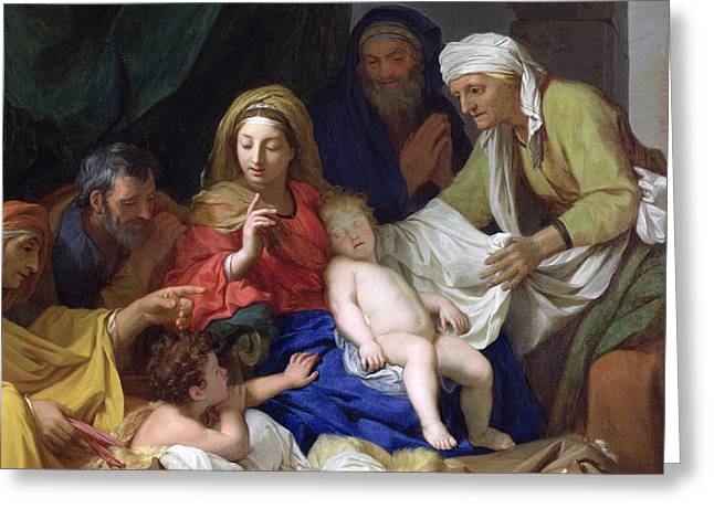 Virgin Mary Greeting Cards - The Sleeping Christ Greeting Card by Charles Le Brun