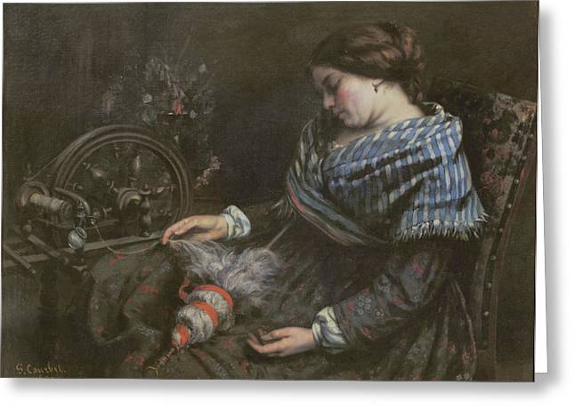 Sleep Paintings Greeting Cards - The Sleeping Embroiderer Greeting Card by Gustave Courbet