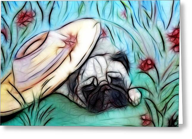 The Sleepy Garden Pug 2 Greeting Card by Lisa Stanley