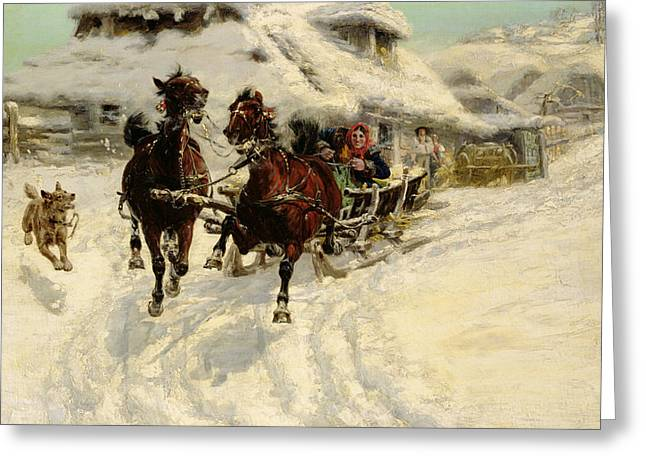 Country Cottage Greeting Cards - The Sleigh Ride Greeting Card by JFJ Vesin