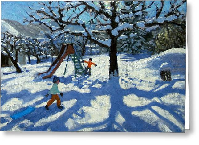 The slide in winter Greeting Card by Andrew Macara