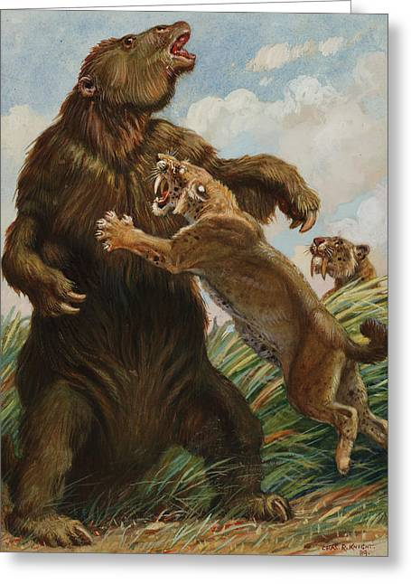 National Geographic Society Art Greeting Cards - The Slow Megatherium Was No Match Greeting Card by Charles R. Knight