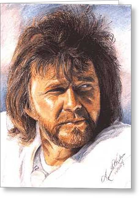 Oakland Paintings Greeting Cards - The Snake - Ken Stabler Greeting Card by Kenneth Kelsoe