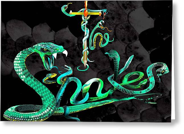 Whitesnake Greeting Cards - The Snakes Live in Europe Greeting Card by Penny Golledge