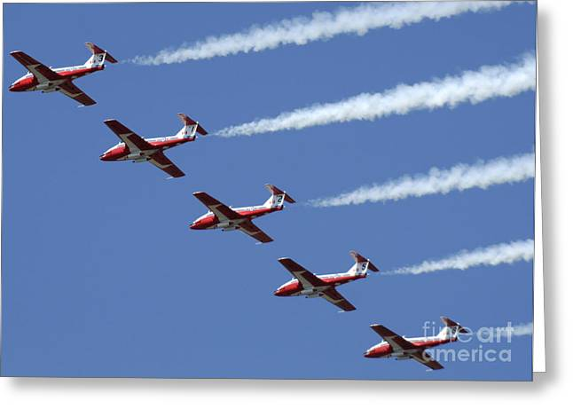Military Aviation Photos Greeting Cards - The Snowbirds Flyby Greeting Card by Bob Christopher