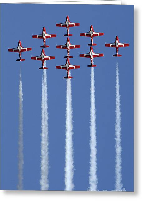 Military Aviation Photos Greeting Cards - The Snowbirds Going Vertical Greeting Card by Bob Christopher