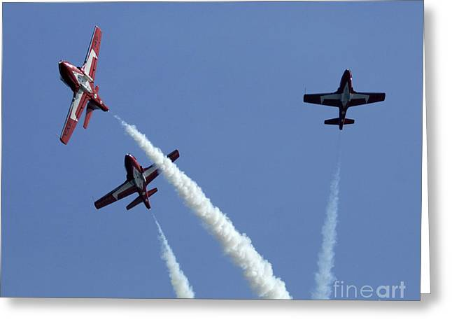 Military Airplanes Greeting Cards - The Snowbirds Having A Blast Greeting Card by Bob Christopher