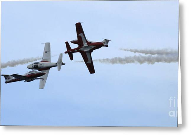 Military Aviation Photos Greeting Cards - The Snowbirds More Fourplay Greeting Card by Bob Christopher
