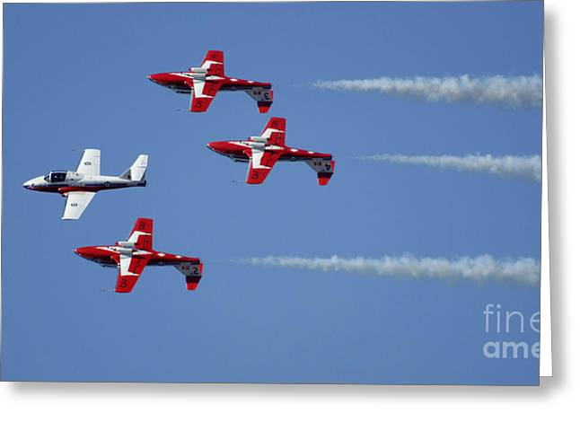 Military Aviation Photos Greeting Cards - The Snowbirds Playing It Cool Greeting Card by Bob Christopher