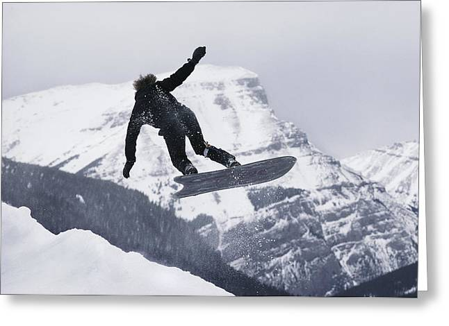 Alberta Rocky Mountains Greeting Cards - The Snowboard Championships Were Held Greeting Card by George F. Mobley