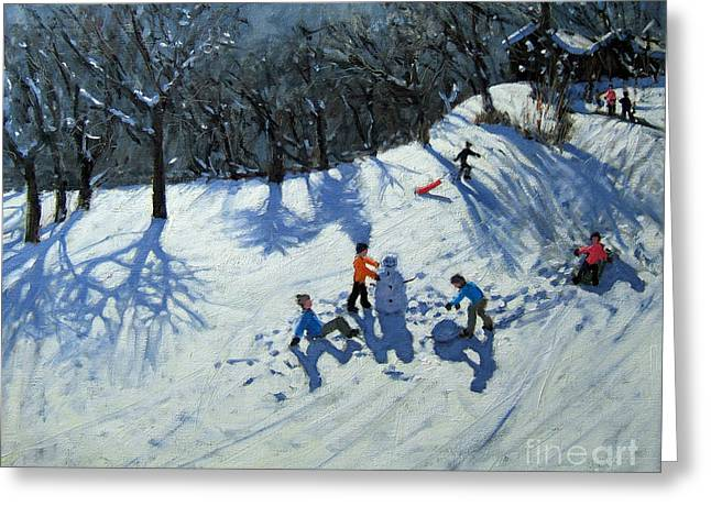 Toboggan Greeting Cards - The Snowman  Greeting Card by Andrew Macara