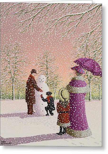 Umbrella Greeting Cards - The Snowman Greeting Card by Peter Szumowski