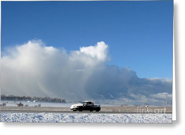 Huge Storm Coming Greeting Cards - The Snowstorm Is Coming 04 Greeting Card by Ausra Paulauskaite