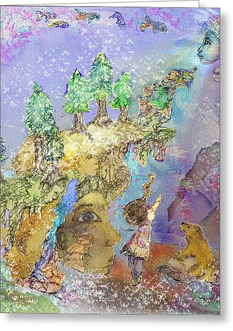 The Snowy Forest Night  Greeting Card by Cynthia  Richards