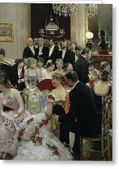 Gathering Greeting Cards - The Soiree Greeting Card by Jean Beraud
