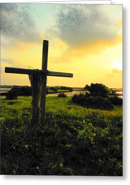 The Wooden Cross Digital Art Greeting Cards - The Son and Sunset Greeting Card by Sheri McLeroy