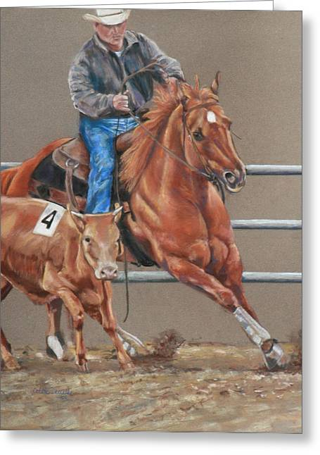 Quarter Horses Greeting Cards - The Sorrell and the Cow Greeting Card by Bobbie Deuell