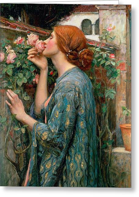 1849 Greeting Cards - The Soul of the Rose Greeting Card by John William Waterhouse
