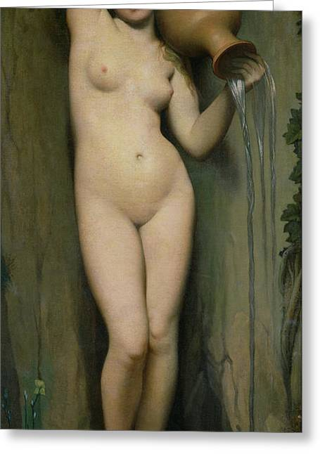 Young Lady Greeting Cards - The Source Greeting Card by Ingres