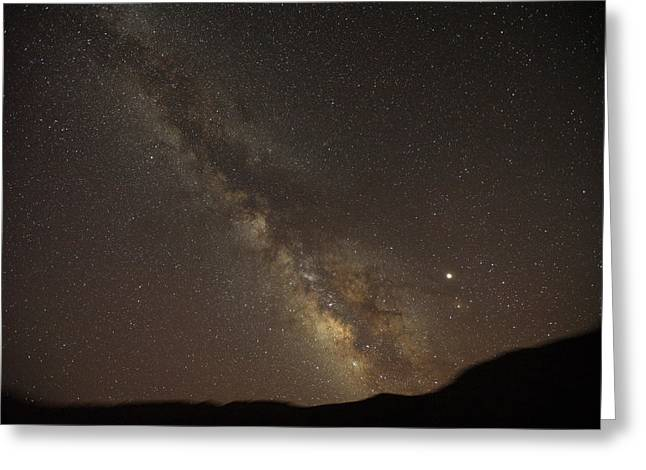 The Southern Milky Way Above Meteor Greeting Card by Stephen Alvarez