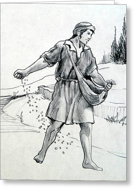 Parable Drawings Greeting Cards - The Sower Greeting Card by Ron Cantrell