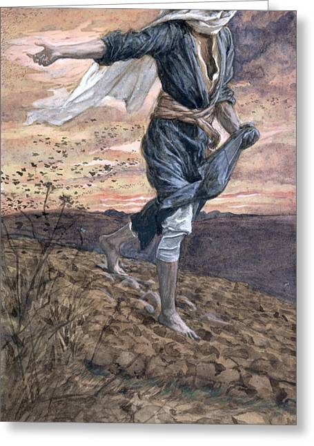 Best Sellers -  - Farmers Field Greeting Cards - The Sower Greeting Card by Tissot