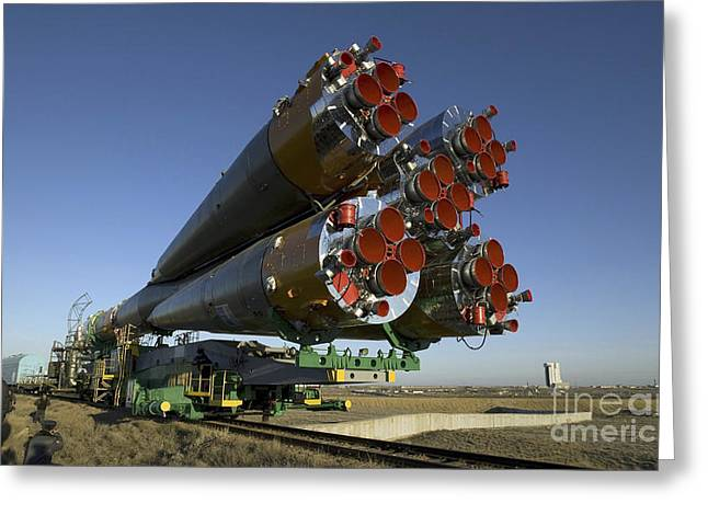 The Soyuz Rocket Is Rolled Greeting Card by Stocktrek Images
