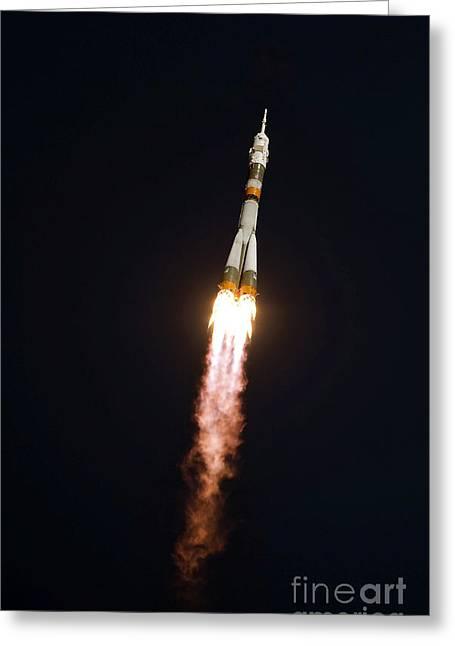 Thrust Greeting Cards - The Soyuz Tma-13 Spacecraft In Flight Greeting Card by Stocktrek Images