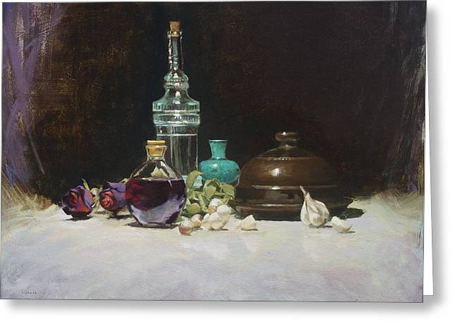 Wine Reflection Art Greeting Cards - The Spanish Bottle Greeting Card by Roger Clark