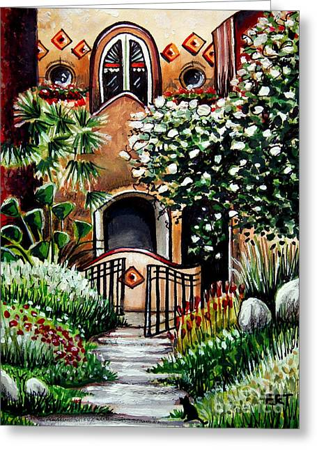 Adobe Mixed Media Greeting Cards - The Spanish Gardens Greeting Card by Elizabeth Robinette Tyndall
