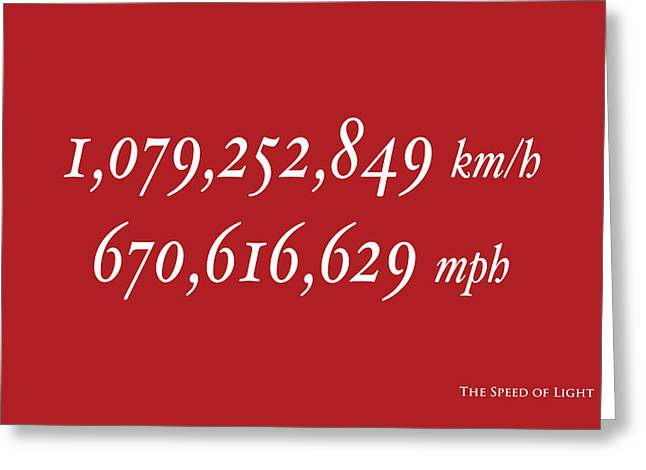 Maths Greeting Cards - The Speed of Light Greeting Card by Michael Tompsett