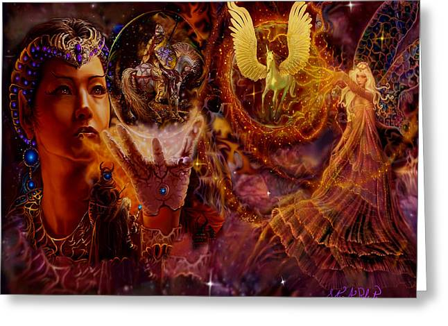 Faries Greeting Cards - The Spell Masters Greeting Card by Steve Roberts