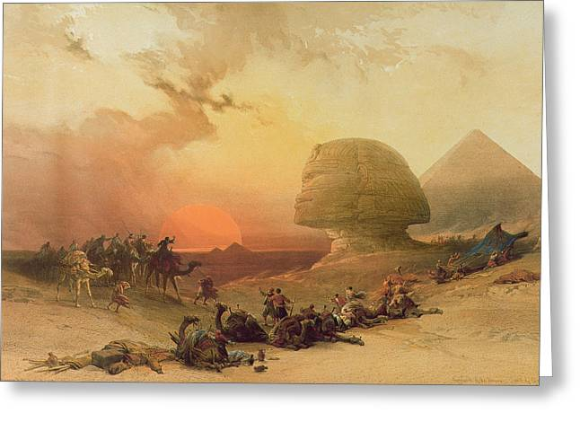 Pyramid Paintings Greeting Cards - The Sphinx at Giza Greeting Card by David Roberts