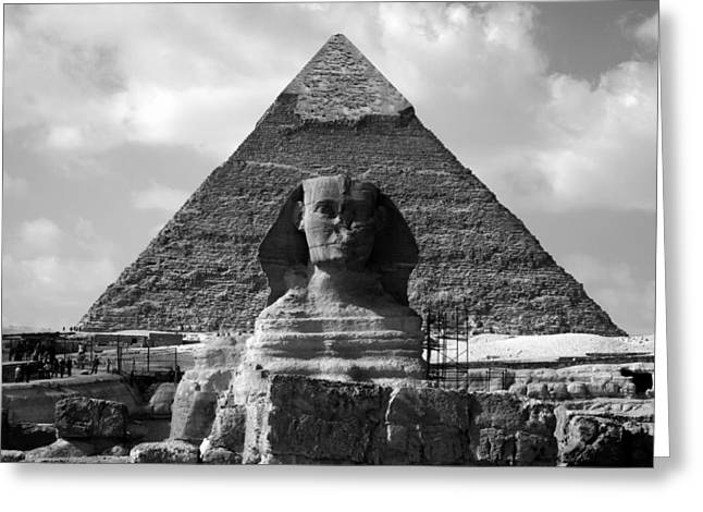 Pyramids Greeting Cards - The Sphynx and The Pyramid Greeting Card by Donna Corless