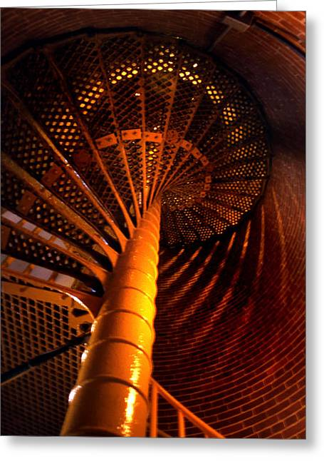 Legendary Lighthouses Greeting Cards - The Spiral At Barnegat Greeting Card by Skip Willits