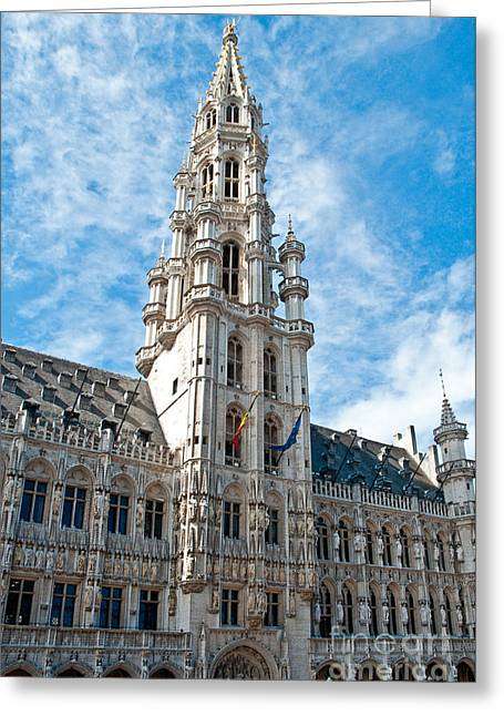 Markt Greeting Cards - the Spire of  Brussels Greeting Card by Jim Chamberlain