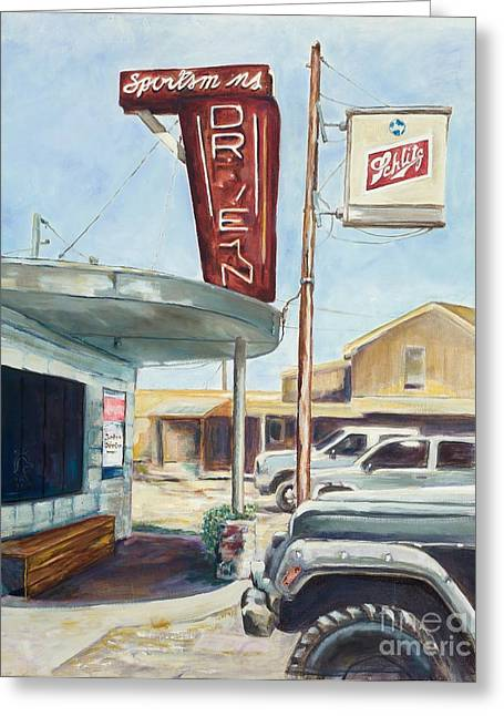 Arkansas Paintings Greeting Cards - The Sportsmans Drive-In Greeting Card by Tansill Stough