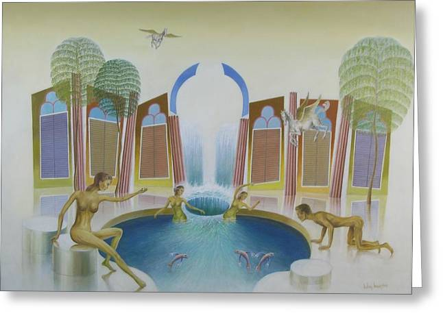 Sell Art Online Greeting Cards - The spring of the water nymphs Greeting Card by John Haanstra