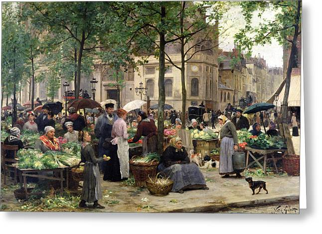 Town Square Greeting Cards - The Square in front of Les Halles Greeting Card by Victor Gabriel Gilbert