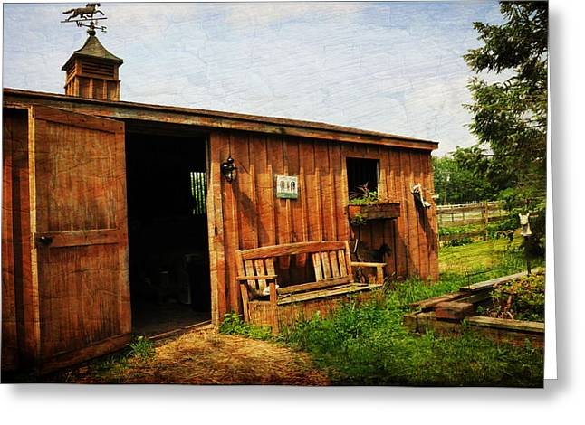 Wood Bench Greeting Cards - The Stable Greeting Card by Paul Ward