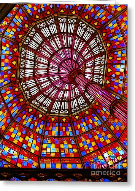 The Stained Glass Ceiling Greeting Card by Judi Bagwell