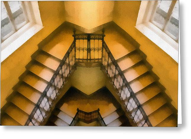 Screen Doors Greeting Cards - The staircase reflection Greeting Card by Odon Czintos