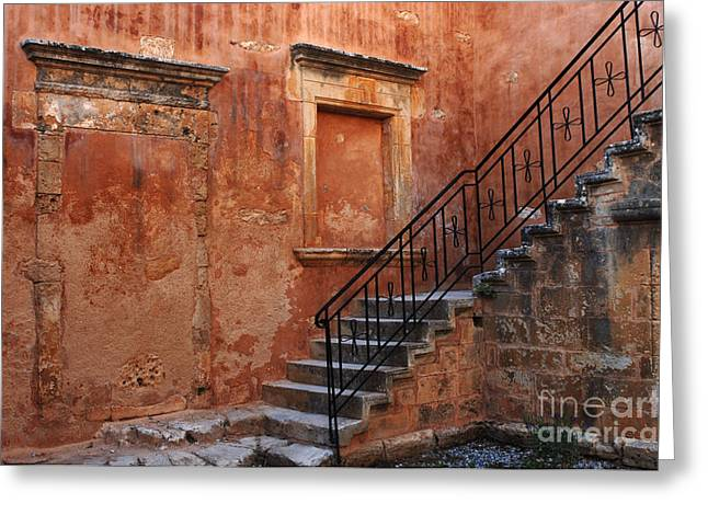 Crete Greeting Cards - The Stairway Crete Greeting Card by Bob Christopher