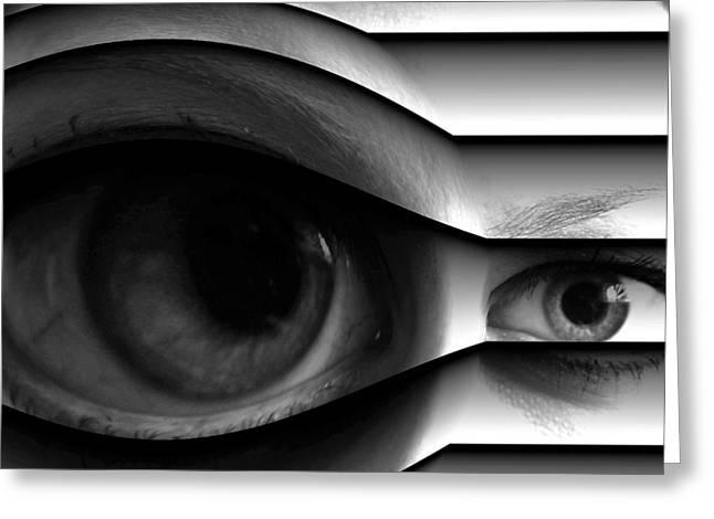 Eyelash Greeting Cards - The Stalker Greeting Card by Lauren Brada
