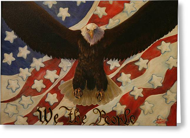 4th July Paintings Greeting Cards - The Stars of America Greeting Card by Ruth Ann Murdock