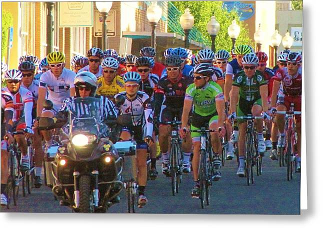 Tour Of The Gila Greeting Cards - The Start on Bullard Greeting Card by Feva  Fotos