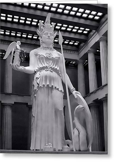 Nike Greeting Cards - The Statue of Athena BW Greeting Card by Linda Phelps